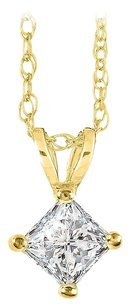 LoveBrightJewelry Princess Cut Diamond Solitaire Pendant 14K Yellow Gold