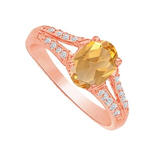 LoveBrightJewelry Radiant Love Citrine and CZ Split Shank Ring in Vermeil