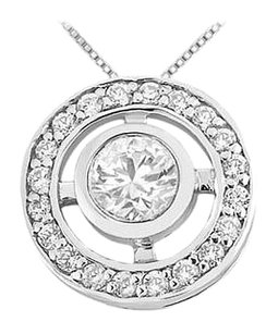 LoveBrightJewelry Rhodium Treated 925 Sterling Silver with Cubic Zirconia Pendant 0.50 Carat TGW