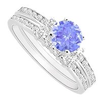 LoveBrightJewelry Rhodium Treated Sterling Silver Created Tanzanite Engagement Ring with CZ Wedding Band Sets 1.00 carat