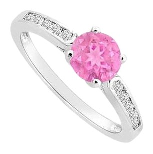 LoveBrightJewelry Rhodium Treated Sterling Silver Engagement Ring with Created Pink Sapphire and Cubic Zirconia 0.