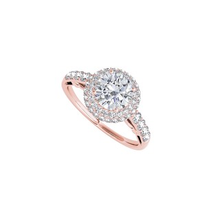 LoveBrightJewelry Rose Gold Vermeil Halo Ring With Cubic Zirconia