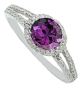 LoveBrightJewelry Round Amethyst and CZ Ring in 925 Sterling Silver