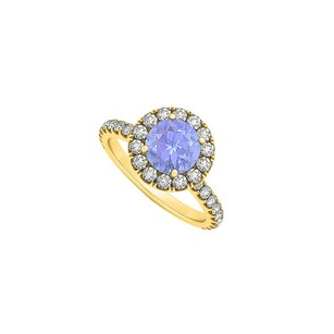 LoveBrightJewelry Round Cubic Zirconia And Tanzanite Halo Engagement Ring In 18k Yellow Gold Vermeil 1.75 Ct Tgw