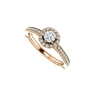 LoveBrightJewelry Round Cubic Zirconia Halo Ring In 14k Rose Gold Vermeil