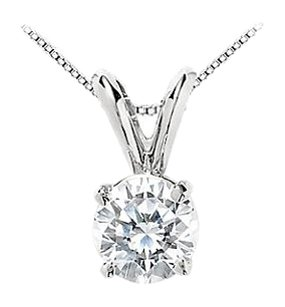 LoveBrightJewelry Round CZ Solitaire Pendant in Rhodium Plating 925 Sterling Silver 1 Carat Triple AAA+ Quality