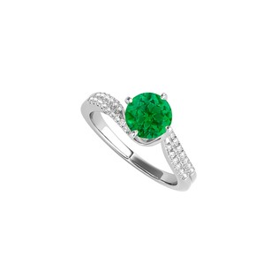 LoveBrightJewelry Round Emerald Cz Engagement Ring In 925 Sterling Silver