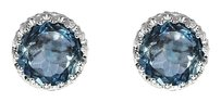 LoveBrightJewelry Round London Blue Topaz Silver Push Back Stud Earrings