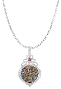 LoveBrightJewelry Round Rainbow Druzy and Pink Tourmaline Silver Pendant