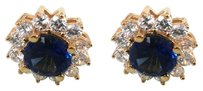 LoveBrightJewelry Round Sapphire and CZ Halo Stud Earrings in 14K Yellow Gold 5 CT TGW
