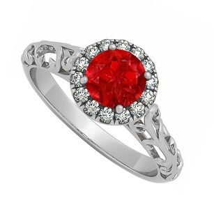 LoveBrightJewelry Ruby And Cubic Zirconia Halo Filigree Engagement Ring In 925 Sterling Silver