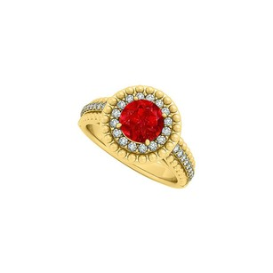 LoveBrightJewelry Ruby And Cz Halo Engagement Ring In Yellow Gold Vermeil With Interesting Design Amazing Price