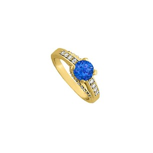 LoveBrightJewelry Sapphire And Cz Ring In Yellow Gold Vermeil Fab Price