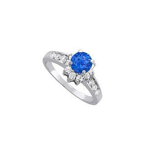 LoveBrightJewelry Sapphire And Diamonds Engagement Ring 14k White Gold