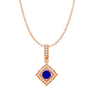 LoveBrightJewelry Sapphire CZ Halo Square Pendant Rose Gold with Chain