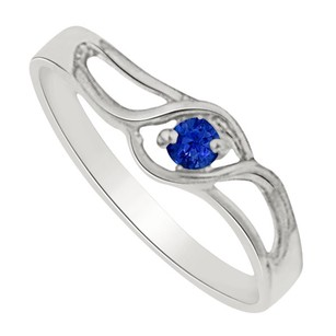 LoveBrightJewelry Sapphire Prong Set Swift Twist Birthstone Mother Ring In 925 Sterling Silver