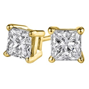 LoveBrightJewelry Say I Love You with Princess Cut Diamond Stud Earrings