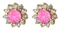 LoveBrightJewelry September Birthstone Created Pink Sapphire with CZ Earrings