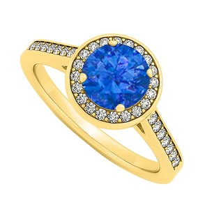 LoveBrightJewelry September Birthstone Created Sapphire And Cubic Zirconia Halo Engagement Ring In Yellow Gold Ver