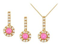 LoveBrightJewelry September Birthstone Pink Sapphire with CZ Halo Earrings and Pendant in 18K Yellow Gold Vermeil