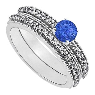 LoveBrightJewelry September Birthstone Sapphire and CZ Engagement Rings with Wedding Band Set in Sterling Silver