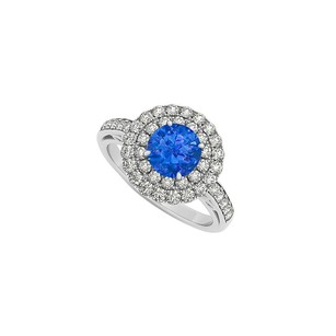 LoveBrightJewelry September Birthstone Sapphire And Double Circle Cz In 14k White Gold Halo Engagement Ring