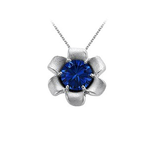LoveBrightJewelry September Birthstone Sapphire Flower Pendant In 14k White Gold With Decent Price Cool Design