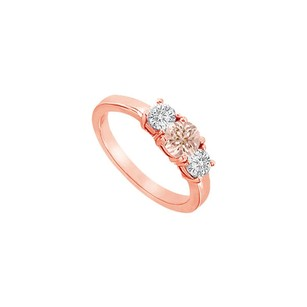LoveBrightJewelry Beautiful Morganite And Cz Three Stone Engagement Ring In 14k Rose Gold Gift For Her