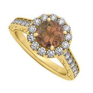 LoveBrightJewelry Smoky Quartz And Cz Halo Engagement Ring In 18k Yellow Gold Vermeil 1.50 Ct Tgw