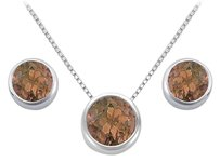 LoveBrightJewelry Smoky Topaz Pendant and Stud Earrings Set in Sterling Silver 2.00 CT TGW