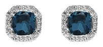 LoveBrightJewelry Sober Blue Topaz and CZ Octagon Stud Earrings Push Back