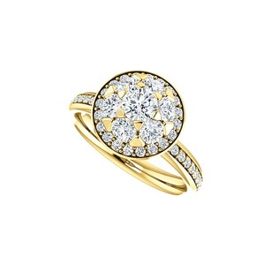 LoveBrightJewelry Sparkle All Time With Cubic Zirconia Marigold Halo Ring