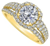 LoveBrightJewelry Split Shank CZ Halo Engagement Ring 18K Yellow Gold Vermeil 1.75 CT TGW
