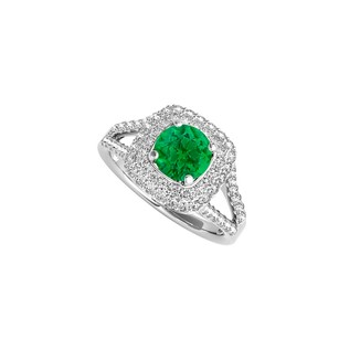 LoveBrightJewelry Split Shank Emerald Cz Ring In 925 Sterling Silver