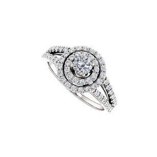 LoveBrightJewelry Split Shank Halo Engagement Rings With Diamond In 14k White Gold 0.75 Ct Tgw
