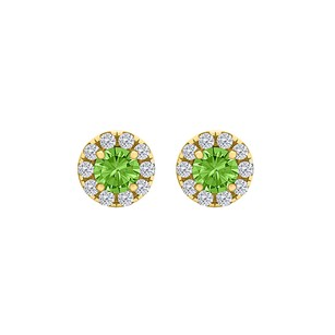 LoveBrightJewelry Spring Peridot CZ Round Halo Stud Earrings Gold Vermeil