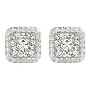 LoveBrightJewelry Square Cubic Zirconia Halo Stud Earrings White Gold