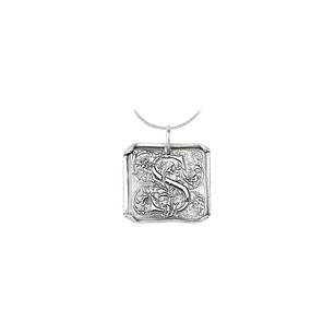 LoveBrightJewelry Sterling Silver 925 Rhodium Plating Vintage Letter S Initial Pendant