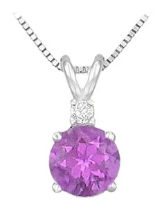 LoveBrightJewelry Sterling Silver Amethyst and Cubic Zirconia Solitaire Pendant 1.00 CT TGW