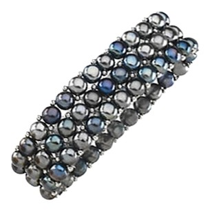 LoveBrightJewelry Sterling Silver and Black Pearl Stretch Bracelet 06.00 MM