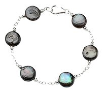 LoveBrightJewelry Sterling Silver and Freshwater Cultured Black Coin Pearl Station Bracelet 7.5 Inch/ 12 13 MM