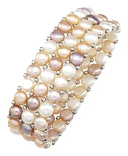 LoveBrightJewelry Sterling Silver and Freshwater Natural Multicolor Pearl Stretch Bracelet 6 MM