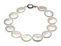 LoveBrightJewelry Sterling Silver and Freshwater White Cultured Coin Pearl Bracelet 8 Inch/13 14 MM