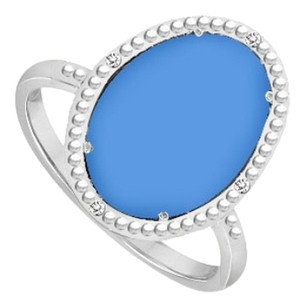 LoveBrightJewelry Sterling Silver Blue Chalcedony and Cubic Zirconia Ring 15.08 CT TGW