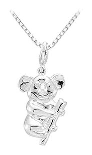 LoveBrightJewelry Sterling Silver Charming Animal Koala Bear Charm Pendant