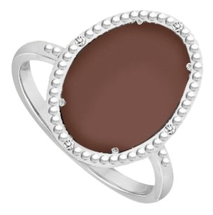 LoveBrightJewelry Sterling Silver Chocolate Chalcedony and Cubic Zirconia Ring 15.08 CT TGW