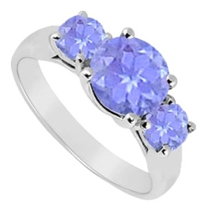 LoveBrightJewelry Sterling Silver Created Tanzanite Three Stone Ring 0.50 CT TGW