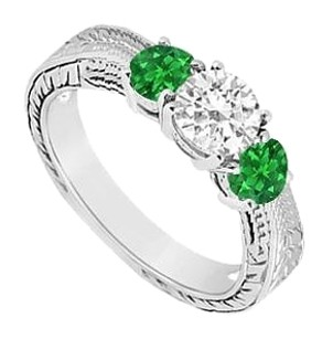 LoveBrightJewelry Sterling Silver Frosted Emerald and Cubic Zirconia Three Stone Ring 0.50 CT TGW
