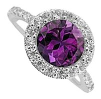 LoveBrightJewelry Sterling Silver Ring With Amethyst and Cubic Zirconia