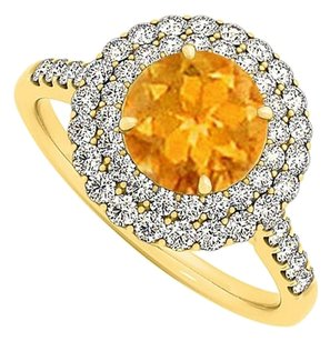 LoveBrightJewelry Stunning Citrine and CZ Halo Engagement Ring 1.75 TGW